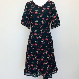 NEW Downeast Black Dress with Red Roses XS